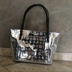 Michael Kors Ciara Silver Metallic Mirror Zip Tote